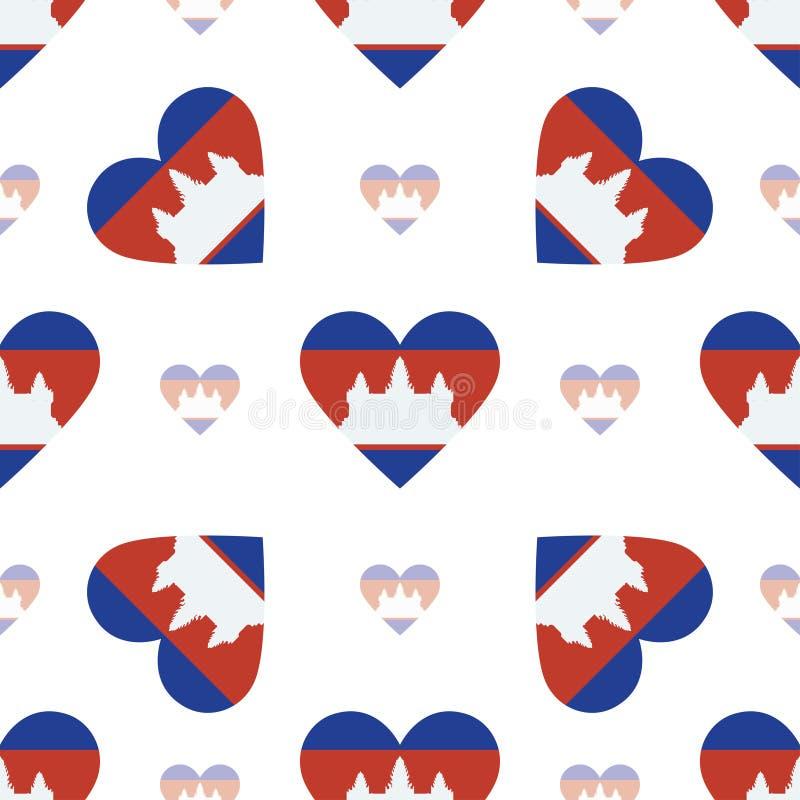 Kambodża flaga kierowy bezszwowy wzór royalty ilustracja