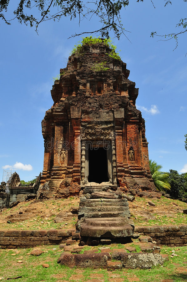 Kambodja Angkor Roluos Bakong royalty-vrije stock afbeelding