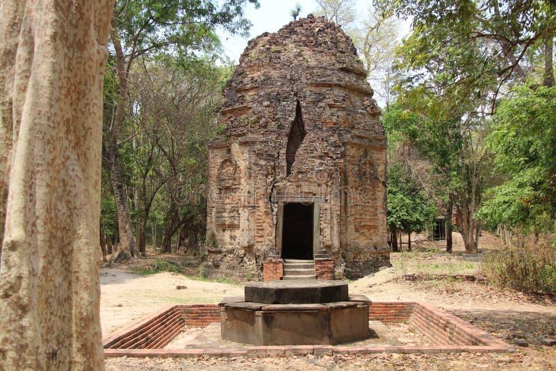 kambodja De Tempel van Samborprei Kuk Kampong Thom Province Kampong Thom City royalty-vrije stock foto
