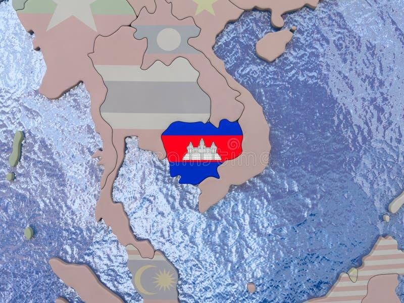 Kambodja met vlag op bol stock illustratie