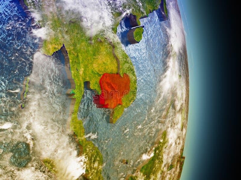Kambodja in rood van ruimte royalty-vrije illustratie