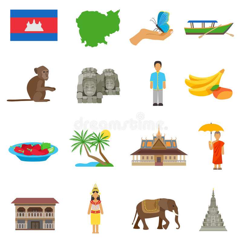 Kambodscha-Kultur-flache Ikonen eingestellt vektor abbildung