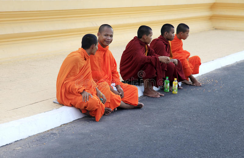 Kambodscha-Mönche stockbilder