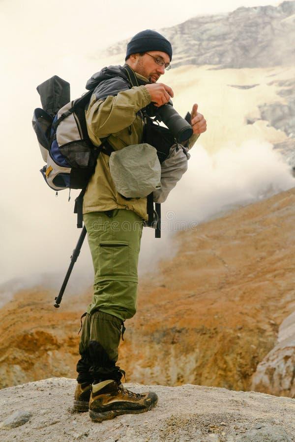 kamchatka τουρίστας φωτογράφων στοκ φωτογραφία