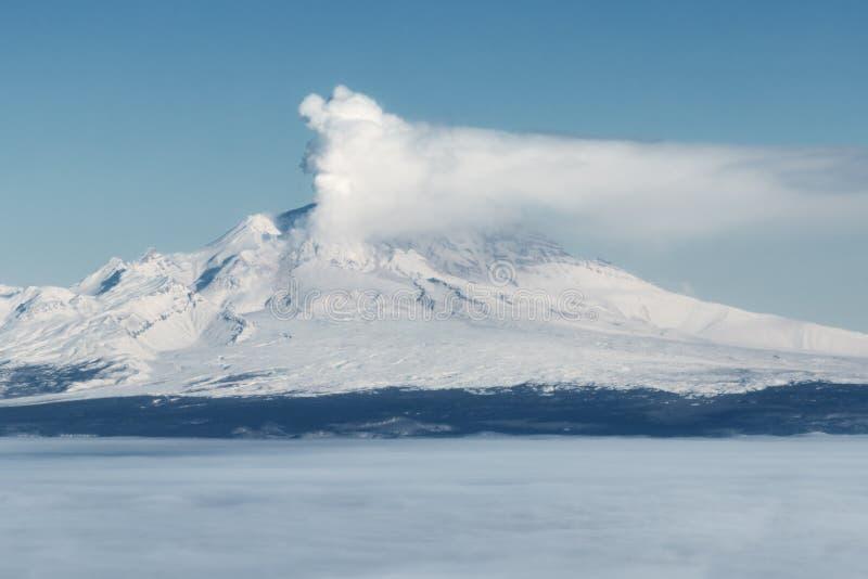 Kamchatka halvö: aktiv Shiveluch för utbrott vulkan fotografering för bildbyråer
