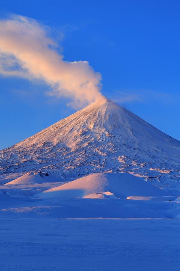 Kamchatka halvö: aktiva Klyuchevskaya Sopka på soluppgång arkivbilder