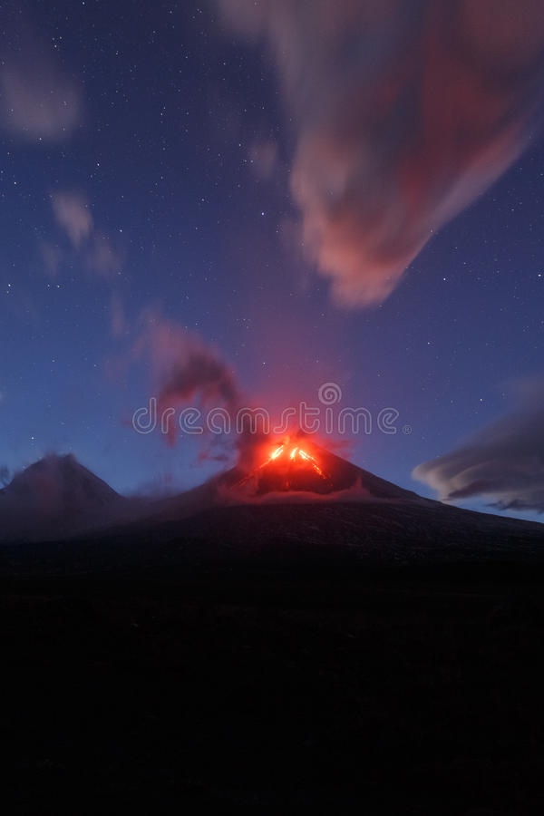 Kamchatka Peninsula: night eruption Klyuchevskaya Sopka stock image