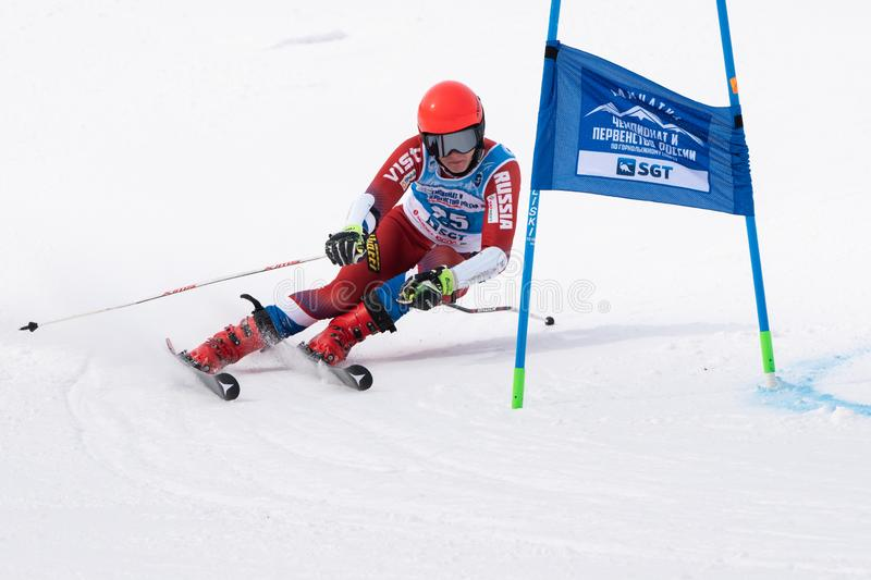 Mountain skier skiing down mount slope. Russian Alpine Skiing Cup, giant slalom. KAMCHATKA PENINSULA, RUSSIA - APR 2, 2019: Russian Women's Alpine Skiing stock photo