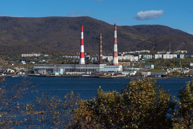 Kamchatka Power Station located in Petropavlovsk-Kamchatsky City. KAMCHATKA PENINSULA, RUSSIAN FEDERATION - 5 OCT, 2018: Kamchatka CHPP-1 located in stock image