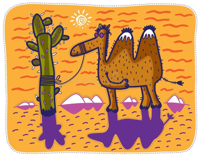 Kameel en cactus vector illustratie