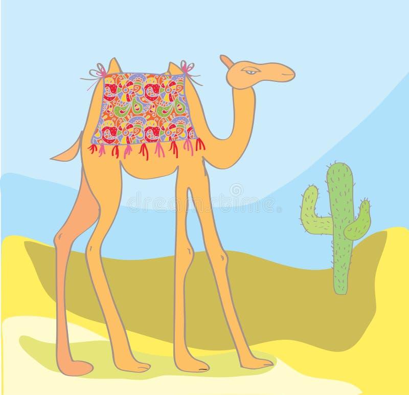 Kameel met cactus in de woestijn vector illustratie