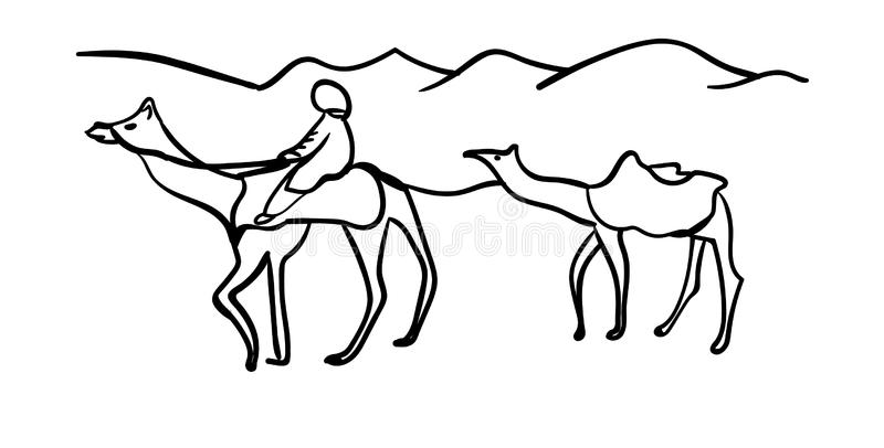 Kameelbestuurder met twee kamelen in de woestijn Doubai, illustratie stock illustratie