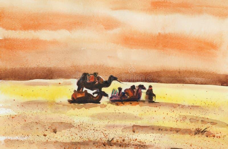 Kameelcaravan die in de woestijn in afwachting van een zandstorm rusten vector illustratie