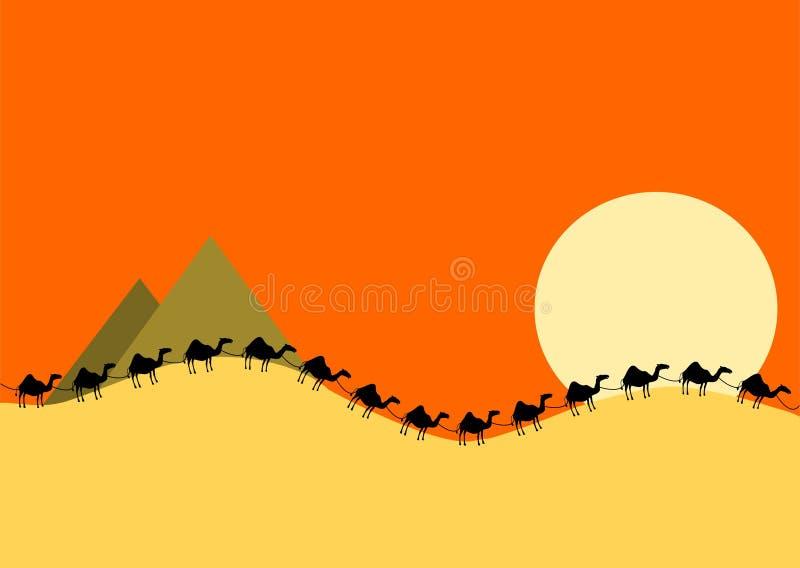 Kameeltrein in woestijnavond vector illustratie