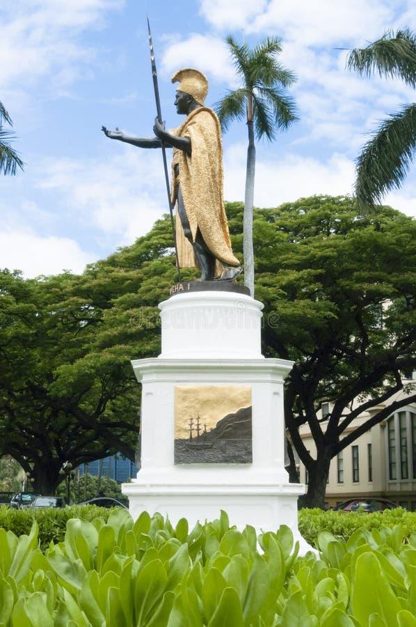 Kamehameha雕象honululu奥阿胡岛夏威夷剪影 库存图片