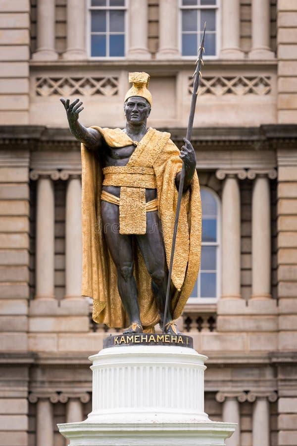 Kamehamehai国王雕象 库存照片