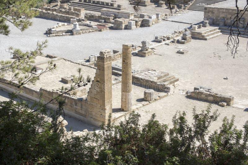 Kameiros forntida stad, Rhodes, Dodecanese, Grekland royaltyfria bilder