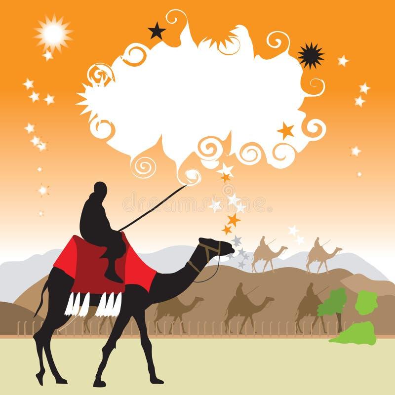 kamelökenram stock illustrationer
