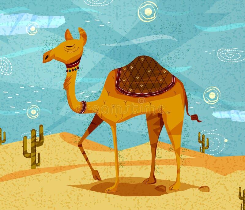 Kamel för älsklings- djur på ökenbakgrund stock illustrationer