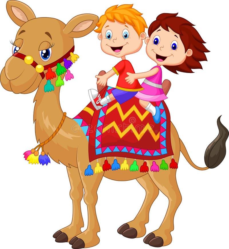 Kamel för tecknad film för liten unge dekorerad ridning royaltyfri illustrationer