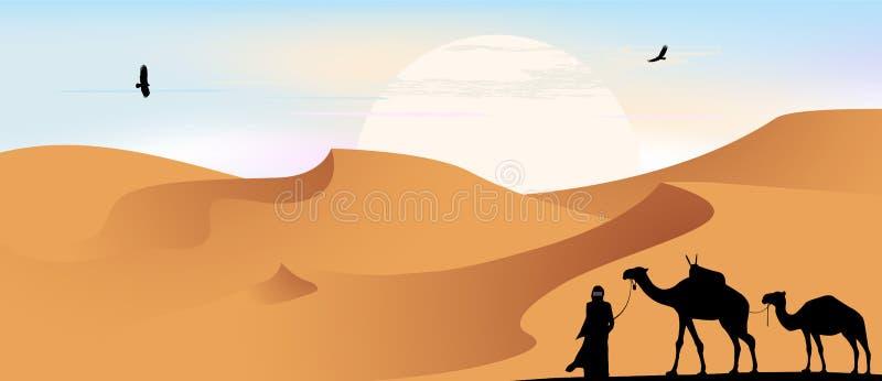 Kamel husvagn i öknen, vektorillustration vektor illustrationer