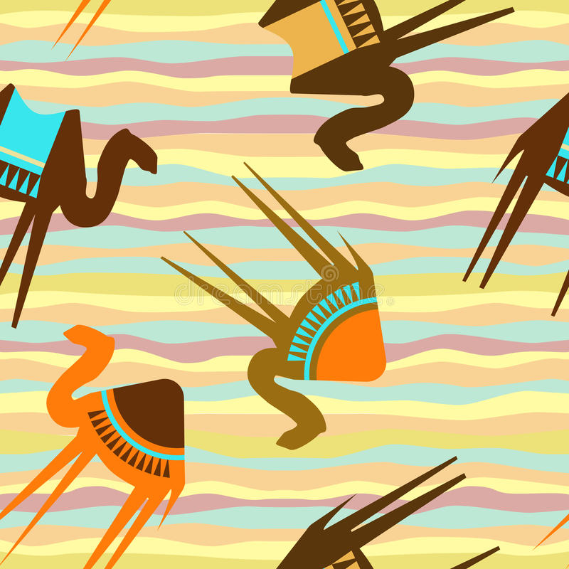 kamel mönsan seamless stock illustrationer