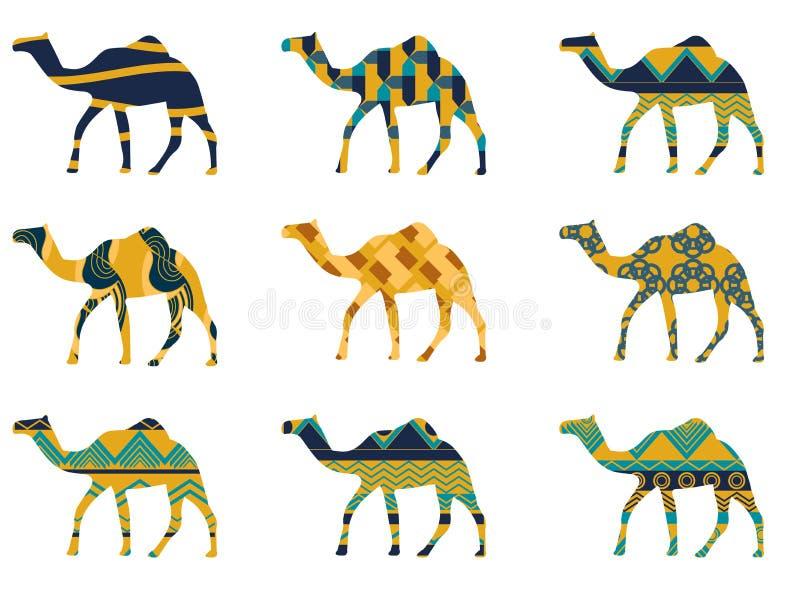 Kamel med en modell på vit bakgrund stock illustrationer