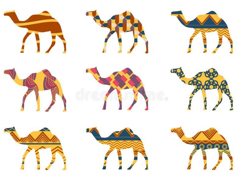 Kamel med en modell Ställ in illustrationer royaltyfri illustrationer