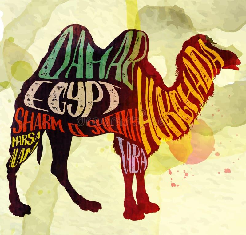 Kamel med idérik bokstäver, vektorbild royaltyfri illustrationer