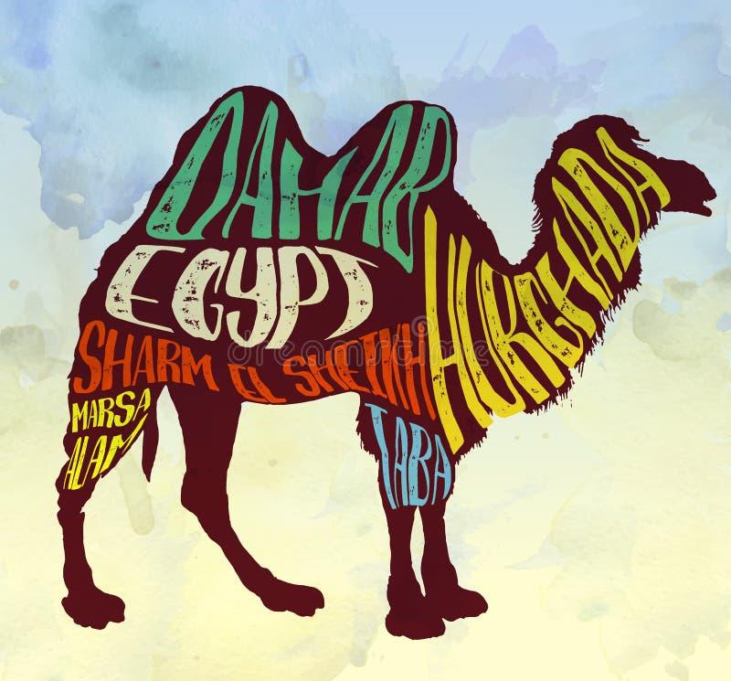 Kamel med idérik bokstäver, vektorbild stock illustrationer