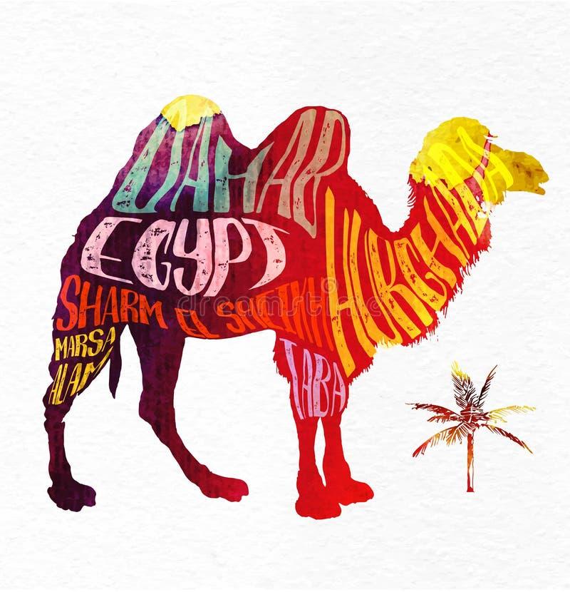 Kamel med idérik bokstäver, vektorbild vektor illustrationer