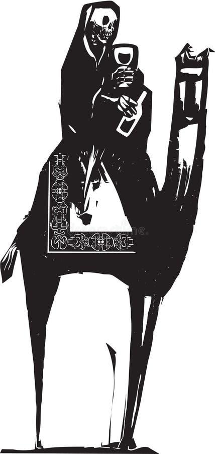 Kamel och död med vin royaltyfri illustrationer