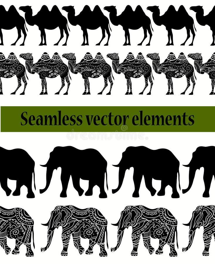 kamel- och elefantmodell stock illustrationer