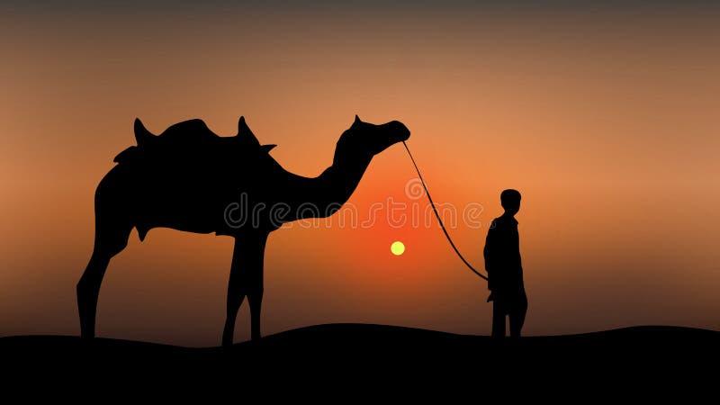 Kamel och en man på solnedgångillustrationen vektor illustrationer