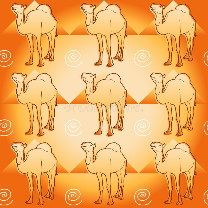 Kamel och pyramider royaltyfri illustrationer
