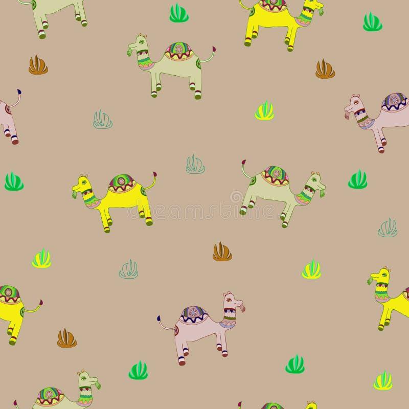 Kamel och växter vektor illustrationer