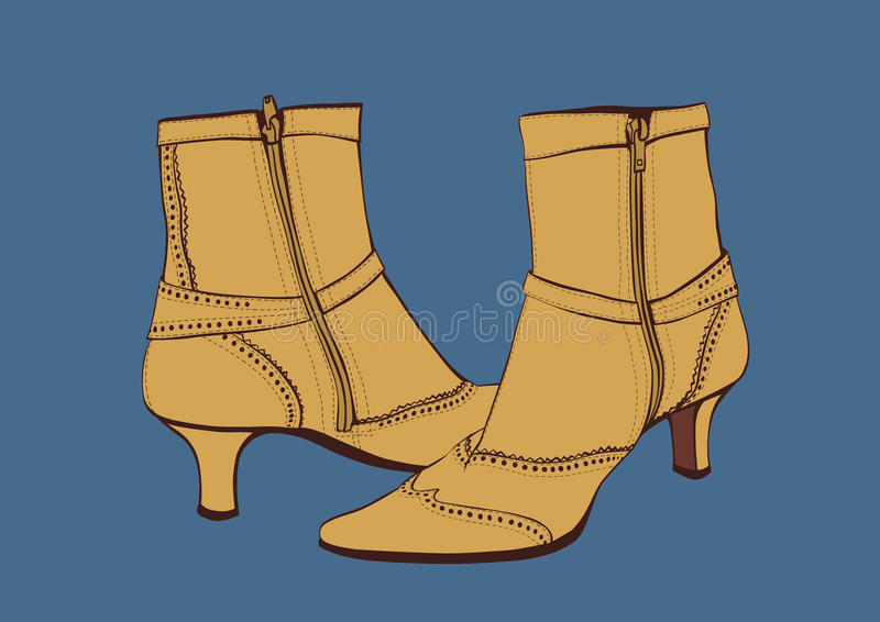 Kamel Reißverschluss zugemachte Stiefel stock abbildung