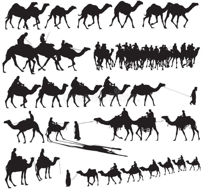 Kamel-Schattenbilder lizenzfreie abbildung