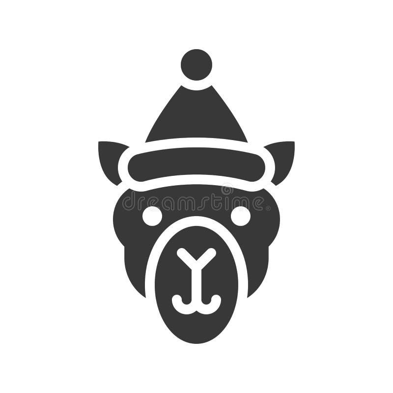 Kamel som bär design för symbol för santa hattkontur stock illustrationer
