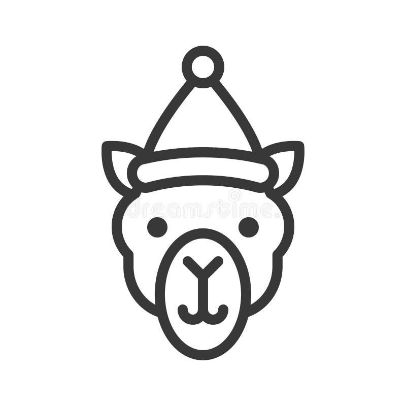 Kamel som bär slaglängden för symbol för santa hattöversikt den redigerbara royaltyfri illustrationer