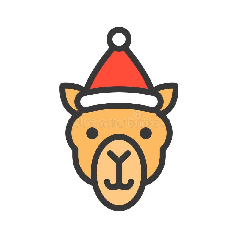 Kamel som bär slaglängden för symbol för santa hattöversikt den redigerbara stock illustrationer