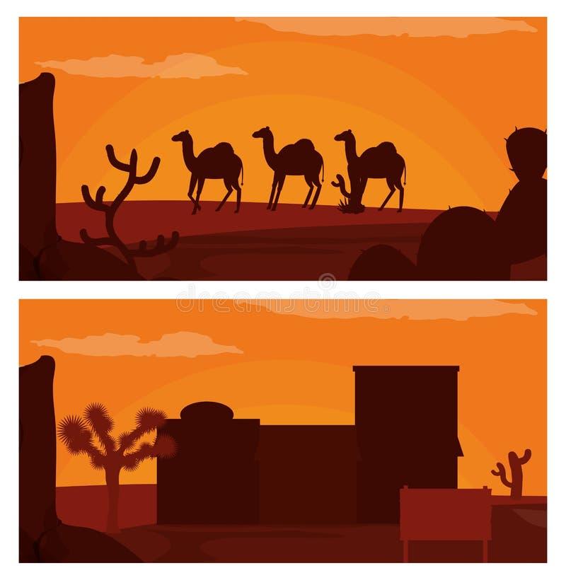 Kamel som går på öken och västra by vektor illustrationer