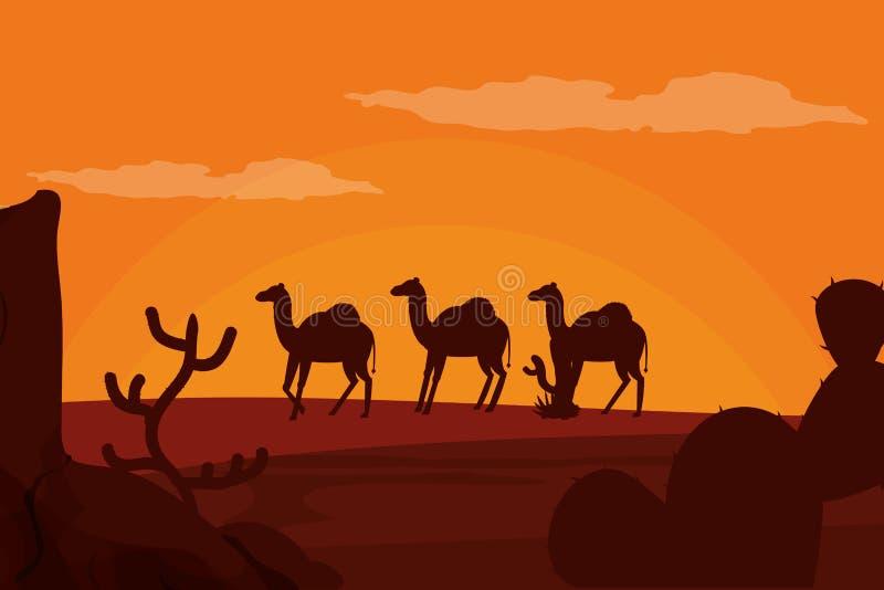 Kamel som går på ökenkontur stock illustrationer