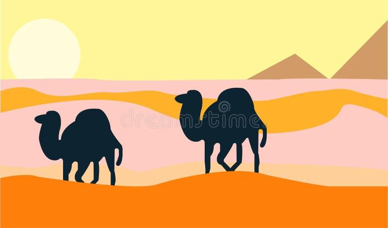 Kamel, som går till och med vildmarken stock illustrationer