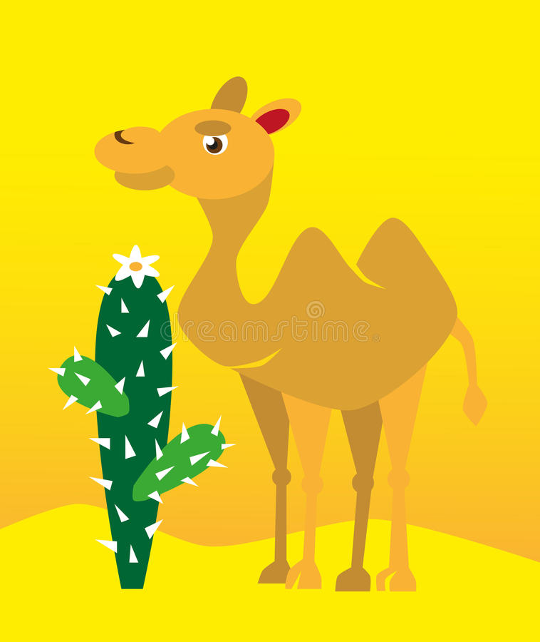 Kamel und Kaktus stock abbildung