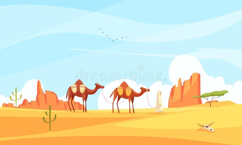 Kamel-Zug-Wüsten-Zusammensetzung stock abbildung