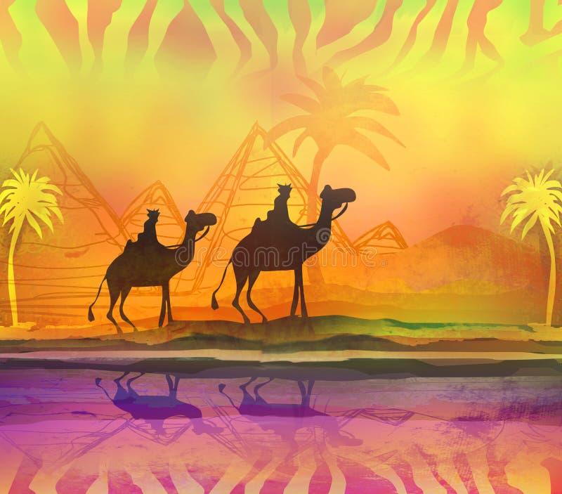 Kameldrevet silhouetted mot färgrik himmel som korsar Sahara royaltyfri illustrationer