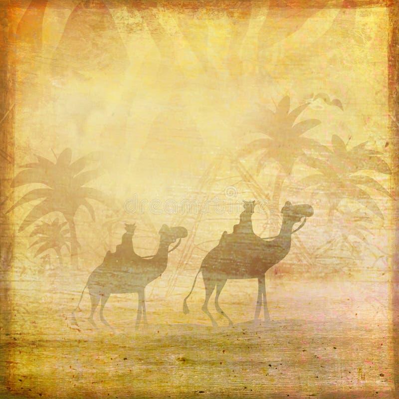 Kameldrevet silhouetted mot himmel som korsar Sahara Desert vektor illustrationer