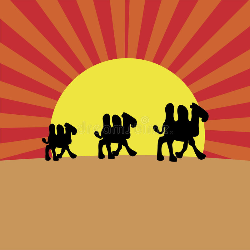 Kamele auf Sonnenuntergang lizenzfreie abbildung