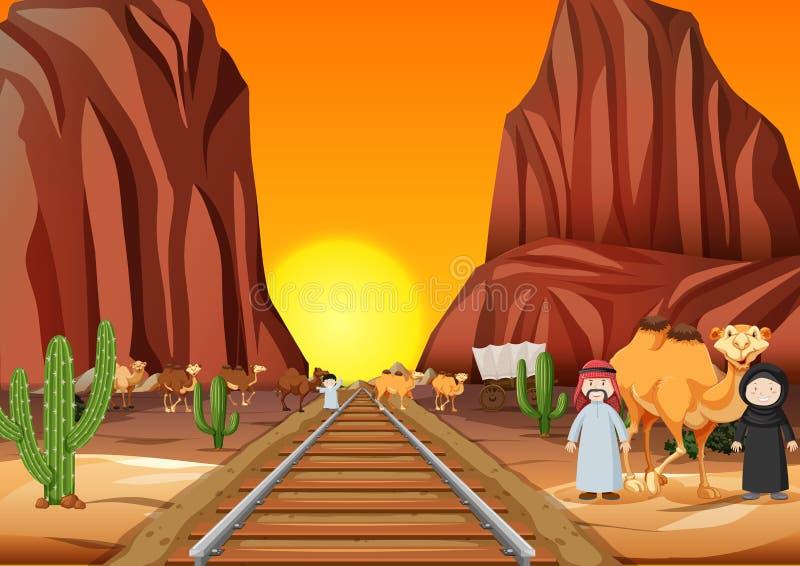 Kamele und arabische Leute, welche die Eisenbahn bei Sonnenuntergang kreuzen lizenzfreie abbildung